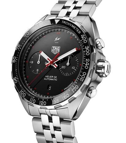 The red and white elements are contrasted to the black dial.
