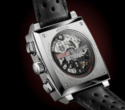 The movement can be viewed through the transparent back of best fake TAG Heuer.