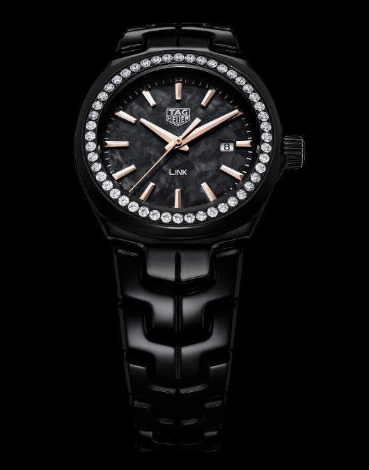 The black ceramic fake watch is decorated with diamonds.