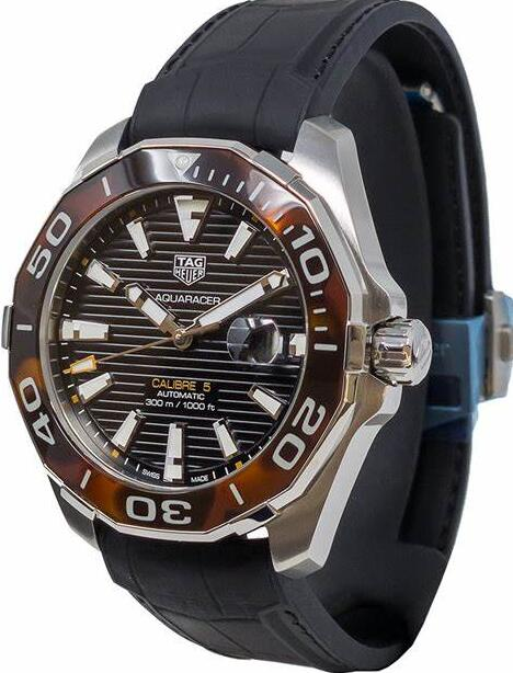 Swiss fake watches are unique for the bezels featured with tortoise shell effect resin.