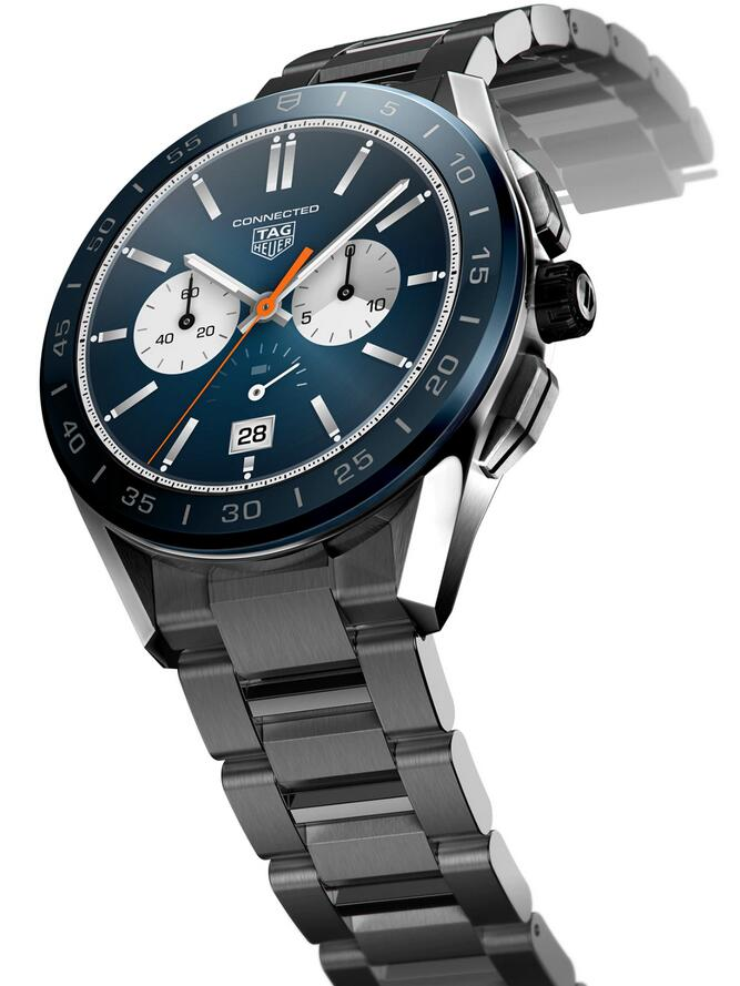 Swiss fake watches are fashionable with blue color.